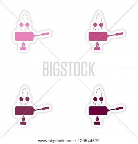 Set of paper stickers on white background  cherry fondue