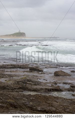 Nobby's lighthouse in the rain, Newcastle, NSW, Australia