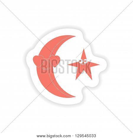 paper sticker on white background  moon star