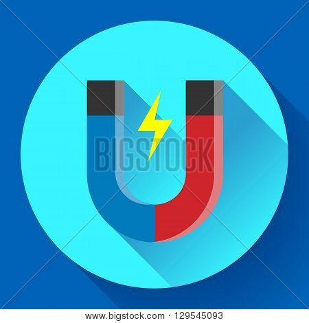 Vector icon horseshoe magnet. Symbol magnetism magnetizing attraction. Concept of physics icon, science, education.