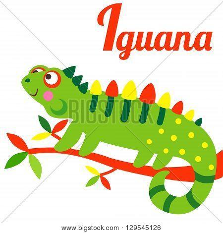Cute animal alphabet. I letter. Cute cartoon Iguana. Alphabet design in a colorful style.