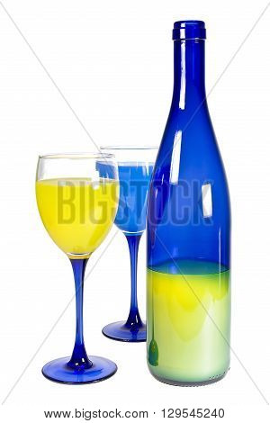 Blue bottle and two goblets with colour liquid