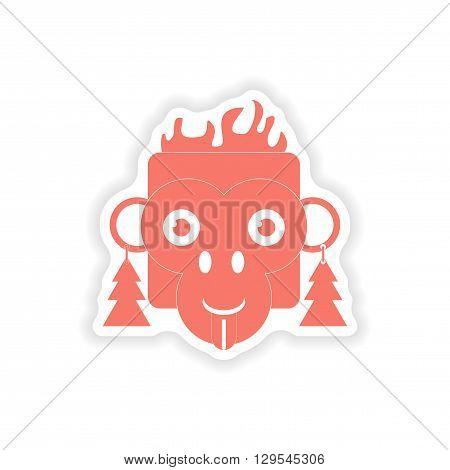 paper sticker on white background  monkey Christmas tree