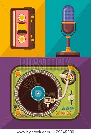 Audio devices set. Vector illustration.