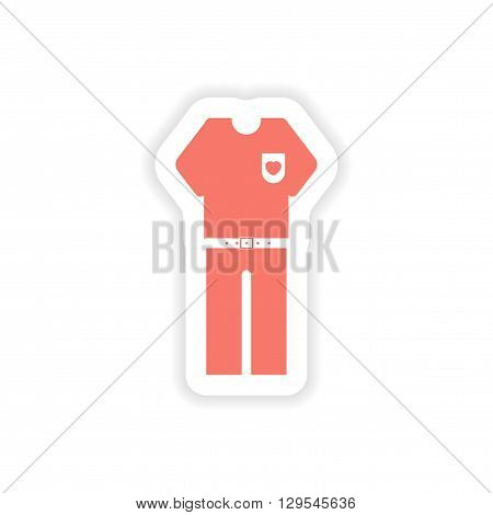 paper sticker on white background  men trousers shirt