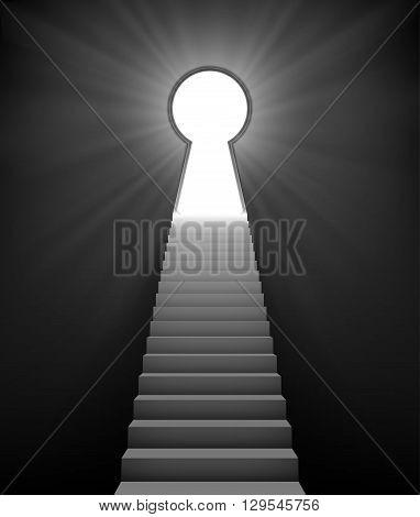 ladder to door in form keyhole. vector illustration.