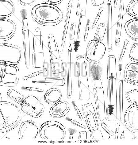 Vector makeup line art illustration. Beauty product seamless pattern in black and white. Mascara lipstick eyeliner blush powder eyeshadows perfume nail polish brushes.