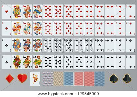 Playing cards set. Poker cards full set