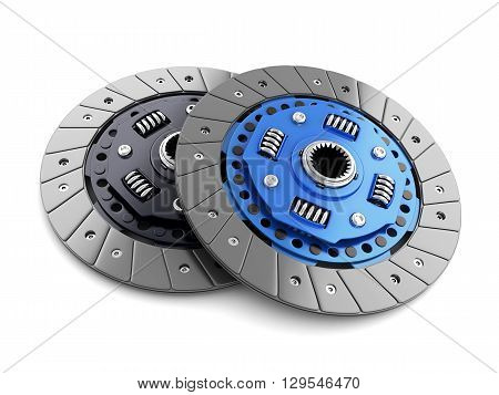 Two clutch disc car on white background (done in 3d cgi)