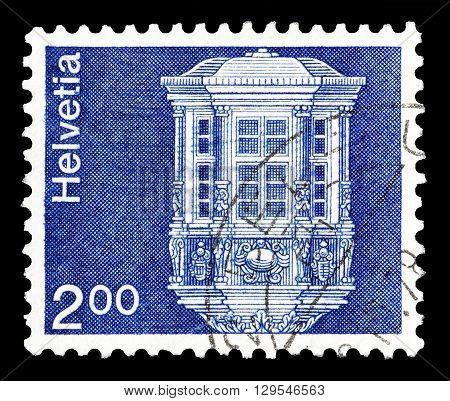 SWITZERLAND - CIRCA 1974 : Cancelled postage stamp printed by Switzerland, that shows Oriel.