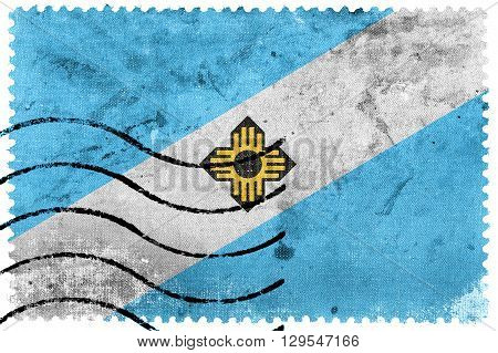 Flag Of Madison, Wisconsin, Old Postage Stamp