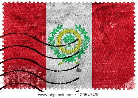 Flag Of Raleigh, North Carolina, Old Postage Stamp