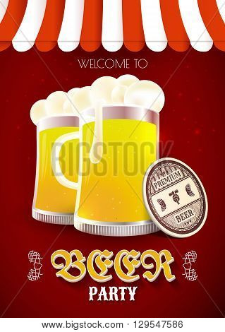 Beer party flyer. Vector illustration with beer glasses and coasters under marquee. Invitation card. EPS 10