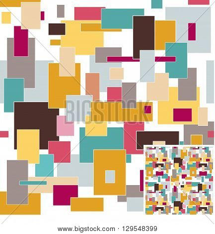 square seamless vector background with Colorful  shapes