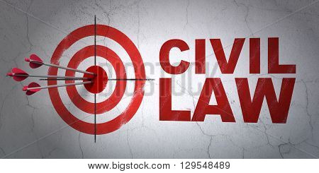 Success law concept: arrows hitting the center of target, Red Civil Law on wall background, 3D rendering
