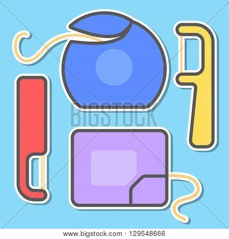 Isolated cartoon dental floss set. Vector illustration.
