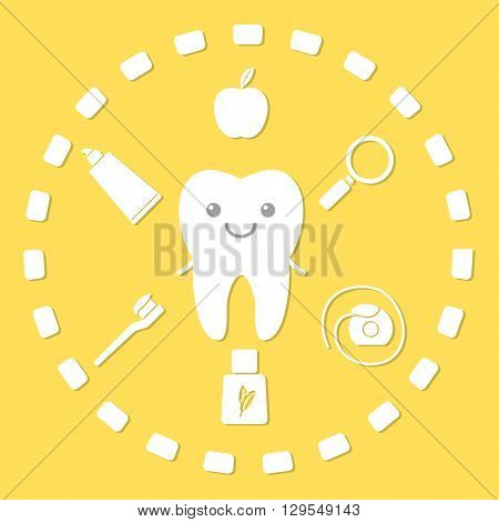 Tooth and hygiene things. Dental hygiene concept.Vector illustration