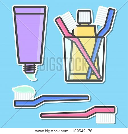 Toothbrush and toothpaste isolated icons. Vector illustration