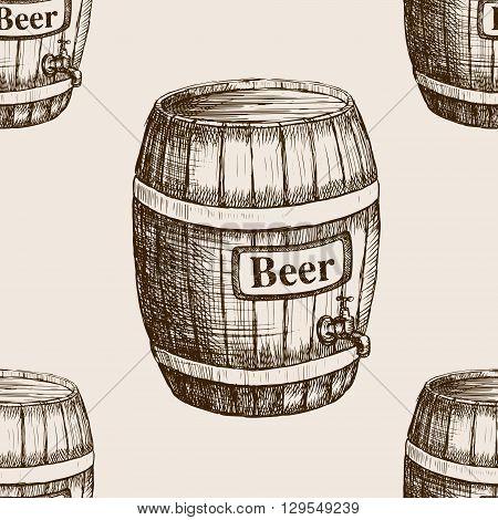 Barrel of beer sketch style seamless pattern vector illustration. Old engraving imitation.