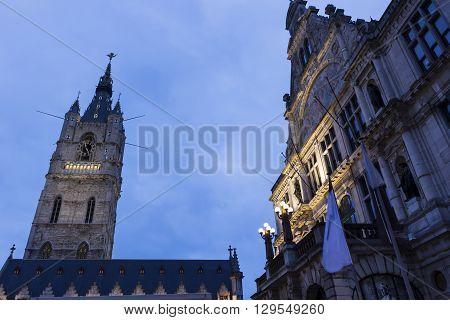 Belfry of Ghent in Belgium in the evening