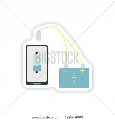 paper sticker on white background  mobile phone charging