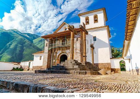 The baroque church dedicated to Saint Peter the Apostle located in Andahuaylillas District Cusco Peru