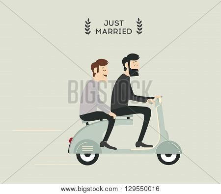 Just_married_gay_couple_on_motobike_grey_colour