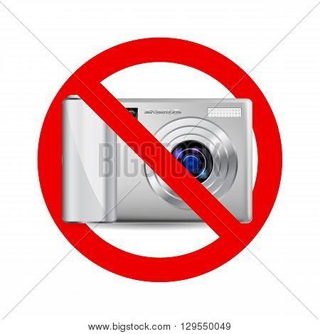No camera sign. Prohibitory sign on white background