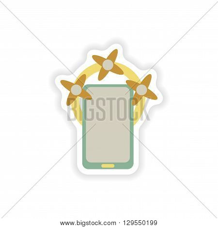 paper sticker on white background  mobile phone