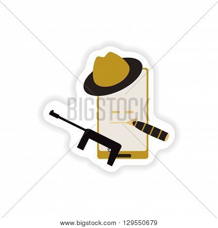 paper sticker on white background  mobile phone gentleman