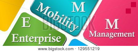 EMM - Enterprise mobility management text over colorful background.
