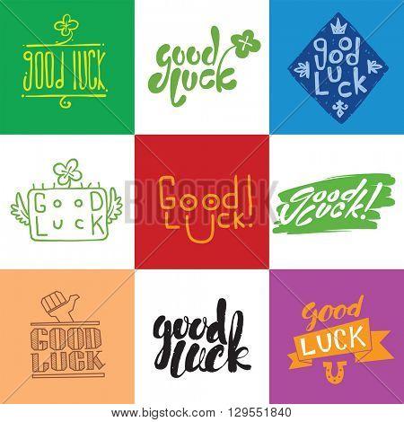 Good luck vector lettering set.