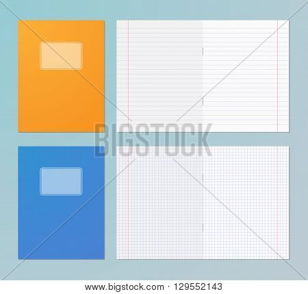 Opened and closed exercise books. Pages in square and line. Copy books. Vector illustration