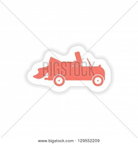 paper sticker on white background  bridegroom car