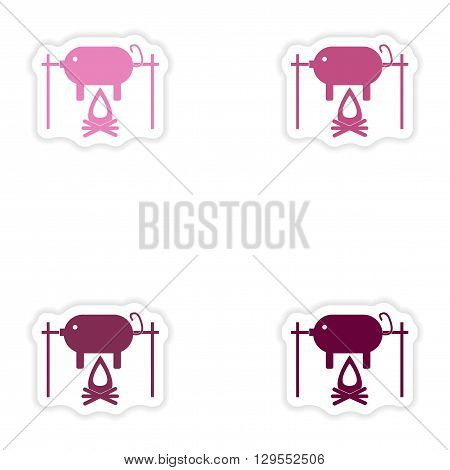 Set of paper stickers on white background  pig on fire