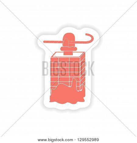 paper sticker on white background  Santa in the chimney