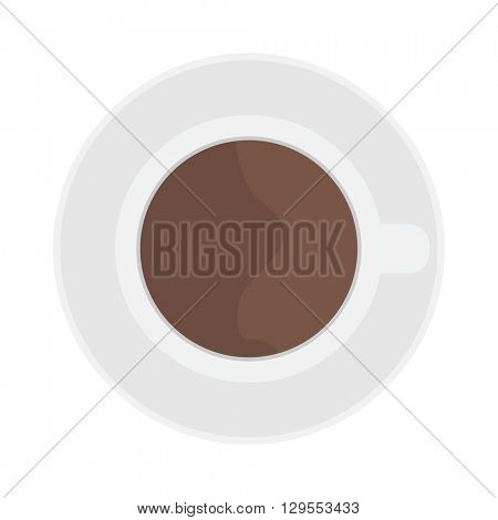 Cup coffe top view vector illustration.