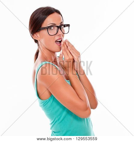 Mistaken Caucasian Woman With Her Hands To Mouth