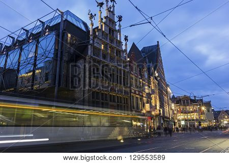 View on Ghent in Belgium in the evening