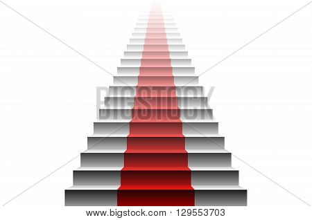 3D Image Of Red Carpet On White Stair. Stairs Red
