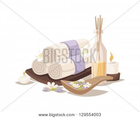 Spa towels aroma vector.