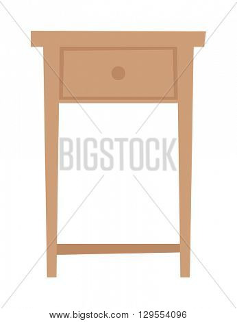 Bedside table household furniture stand flat vector.