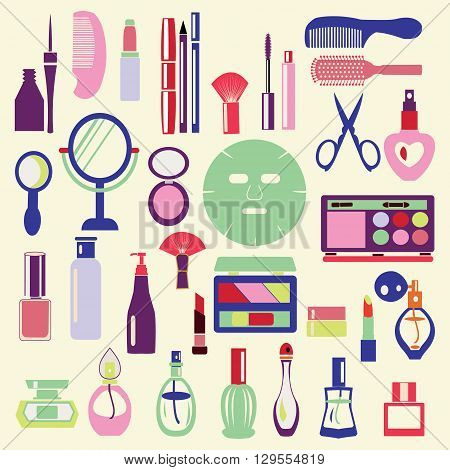 Vector Icon Set ofCosmetics Make Up and Beauty objects Symbols in flat style- Illustration