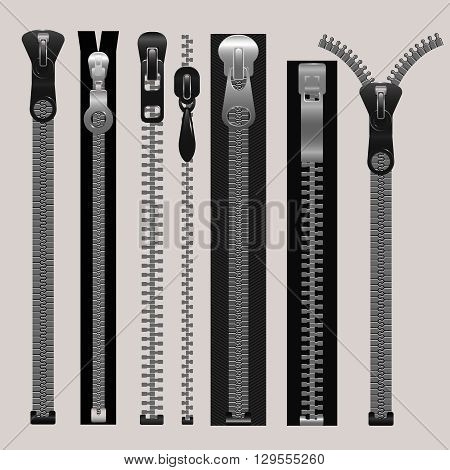 Vector zippers, fastener vector set. Fashion fastener, zippers for cloth, zipper metal, connection zippers illustration
