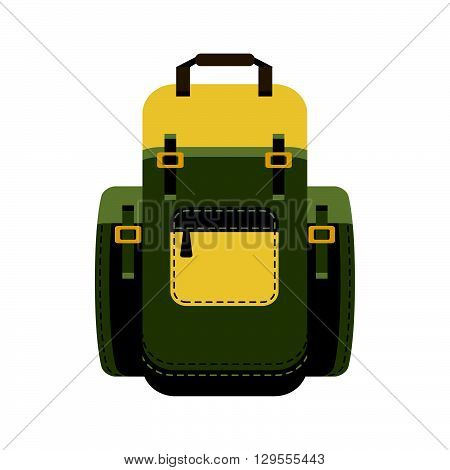 Green backpack isolated on white background. flat style trendy modern vector illustration