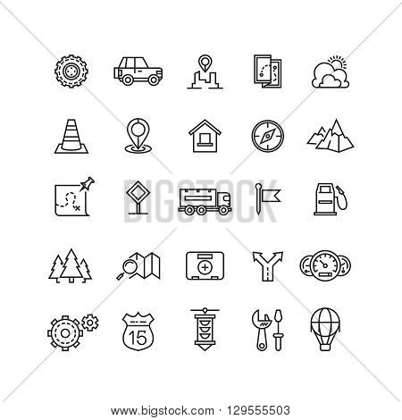 Travel, highway traffic, location vector linear icons set. Transportation traffic linear icon and traffic travel, traffic icon illustration