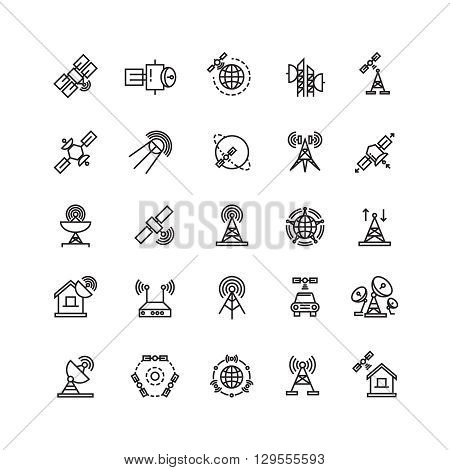 Satellite and orbit communication, aerial line thin icons. Communication satellite, internet satellite, satellite illustration with antenna. Vector illustration