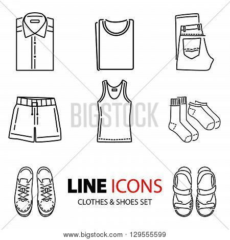 Stock Vector Line Icons. Clothing And Footwear.