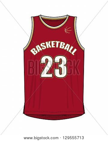 Illustration of a Red Basketball Shirt with Number 23