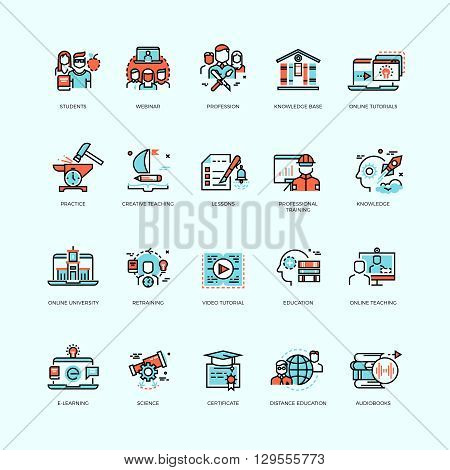 Distance education, online tutorials and courses, video training, staff training, digital library vector icons. Course education, technology education internet, e-learning ducation illustration